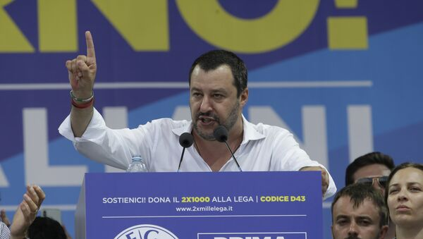 Matteo Salvini gives his speech during the traditional League party rally in Pontida, northern Italy, Sunday, July 1, 2018 - Sputnik International