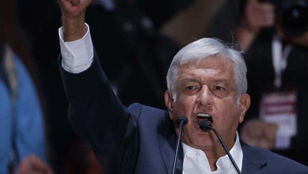 Presidential candidate Andres Manuel Lopez Obrador delivers his victory speech in Mexico City's main square, the Zocalo, late Sunday, July 1, 2018. - Sputnik International