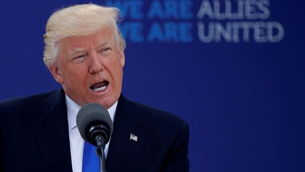 US President Donald Trump delivers remarks at the start of the NATO summit at their new headquarters in Brussels, Belgium - Sputnik International