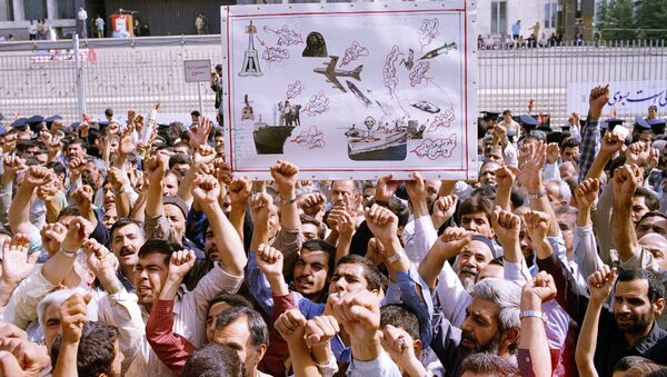 Thousands of Iranians chanting Death to America, participate in a mass funeral for 76 people killed when the USS Vincennes shot down Iran Air Flight 655, in Tehran, Iran, July 7, 1988 - Sputnik International