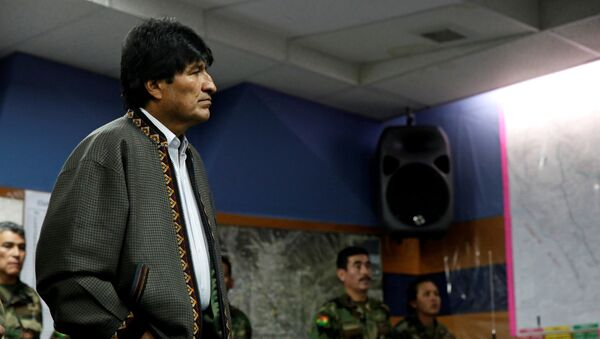 Bolivia's President Evo Morales attends a meeting with the emergency committee after Bolivia's government declared state of emergency due to drought, in La Paz, Bolivia - Sputnik International