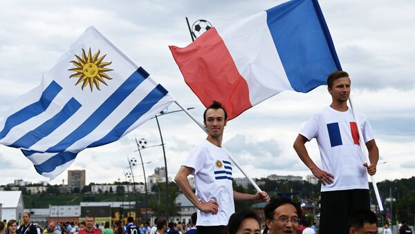 Fans before World Cup 2018 soccer match between the national teams of Uruguay and France - Sputnik International
