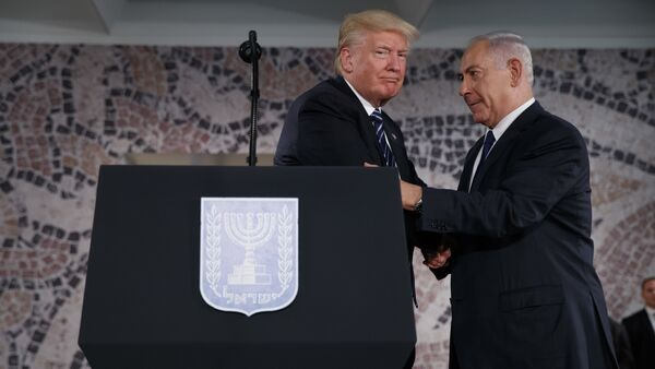 President Donald Trump shakes hands with Israeli Prime Minister Benjamin Netanyahu before delivering a speech at the Israel Museum, Tuesday, May 23, 2017, in Jerusalem - Sputnik International