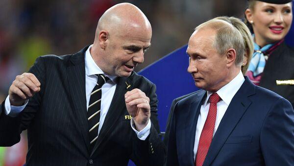 Russian President Vladimir Putin awards winners of World Cup 2018 after France defeats Croatia on July 15. - Sputnik International