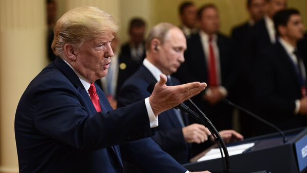 US President Donald Trump and Russia's President Vladimir Putin attend a joint press conference after a meeting at the Presidential Palace in Helsinki, on July 16, 2018 - Sputnik International