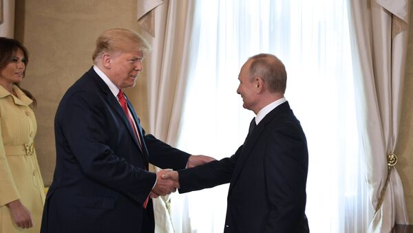 July 16, 2018. Russian President Vladimir Putin and US President Donald Trump during a meeting at the presidential palace in Helsinki. - Sputnik International