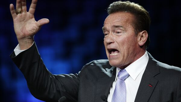 Former California Gov. Arnold Schwarzenegger delivers his speech at the One Planet Summit, in Boulogne-Billancourt, near Paris, France, Tuesday, Dec. 12, 2017. World leaders, investment funds and energy magnates promised to devote new money and technology to slow global warming at a summit in Paris that President Emmanuel Macron hopes will rev up the Paris climate accord that U.S. President Donald Trump has rejected - Sputnik International