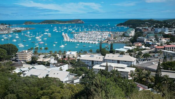 This photo dated Monday, May 9, 2018 shows a general view of the bay of Noumea, the capital of New Caledonia, a French territory in the South Pacific, with the yachting port in the background - Sputnik International
