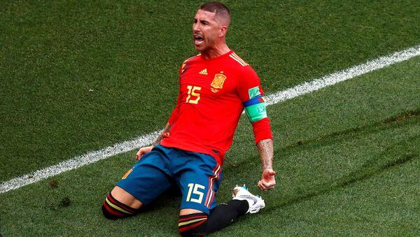 Spain's Sergio Ramos celebrates scoring their first goal, Luzhniki Stadium, Moscow, Russia - July 1, 2018 - Sputnik International
