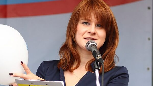 Public figure Maria Butina delivers a speech during a rally to demand the expanding of rights of Russian citizens, in this undated handout photo obtained by Reuters on July 17, 2018 - Sputnik International