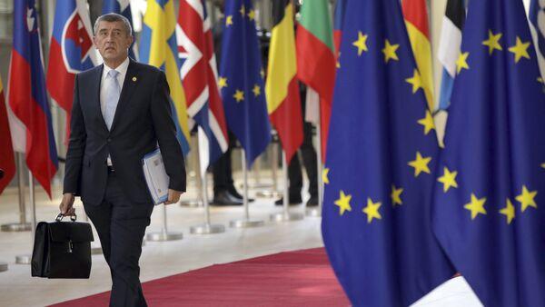 Czech Republic's Prime Minister Andrej Babis arrives for an EU summit at the Europa building in Brussels, Thursday, June 28, 2018 - Sputnik International