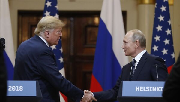 July 16, 2018. President of Russia Vladimir Putin and President of the US Donald Trump, left, during the joint news conference following their meeting in Helsinki - Sputnik International