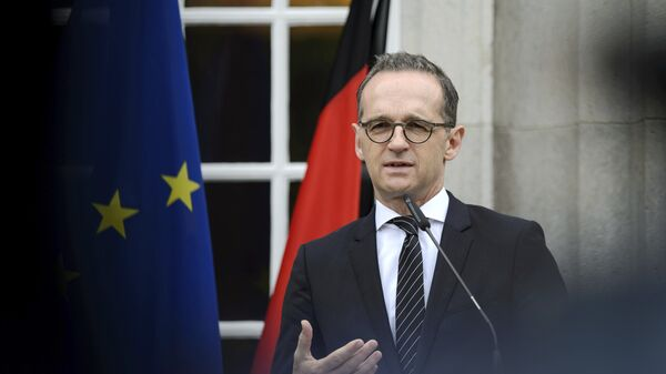 German Foreing Minister Heiko Maas addresses the media during a joint press conference with his counterpart from Hungary, Peter Szijjarto, as part of a meeting in Berlin, Germany, Tuesday, June 5, 2018 - Sputnik International