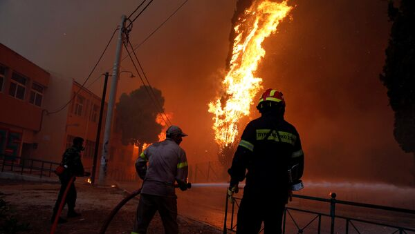 Firefighters and soldiers try to extinguish a wildfire burning in the town of Rafina, near Athens, Greece, July 23, 2018 - Sputnik International
