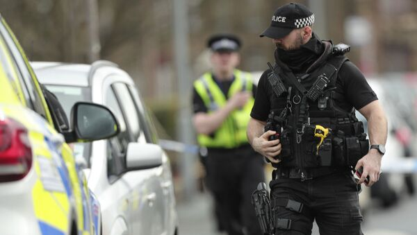 Police activity outside an address raided by officers from Britain's Counter Terrorism police in Dewsbury, England, Tuesday April 3, 2018. Two men are understood to have been arrested on suspicion of planning acts of terror - Sputnik International
