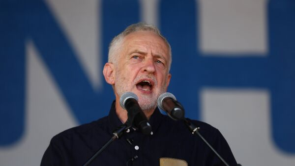 Britain's opposition Labour Party leader, Jeremy Corbyn, addresses demonstrators following a march in support of the National Health Service, in central London, Britain, June 30, 2018 - Sputnik International