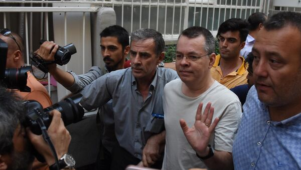 U.S. pastor Andrew Brunson reacts as he arrives at his home after being released from the prison in Izmir, Turkey July 25, 2018 - Sputnik International