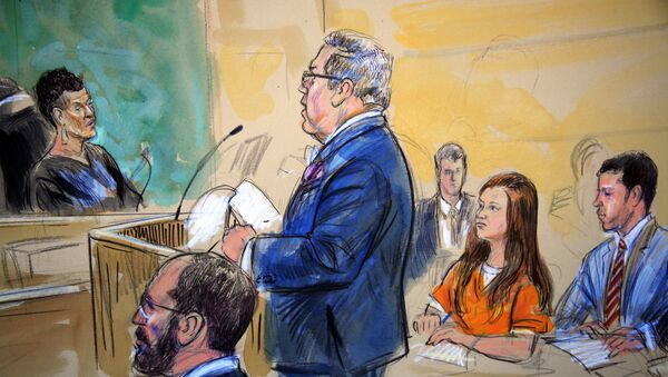 This courtroom sketch depicts Maria Butina, in orange suit, a 29-year-old gun-rights activist suspected of being a covert Russian agent, listening to her attorney Robert Driscoll, standing, as he speaks to Judge Deborah Robinson, left, during a hearing in federal court in Washington, Wednesday, July 18, 2018. Assistant U.S. Attorney Erik Kenerson, bottom left, and co-defense attorney's Alfred Carry, right, listen. Prosecutors say Butina was likely in contact with Kremlin operatives while living in the United States. And prosecutors also are accusing her of using sex and deception to forge influential connections - Sputnik International