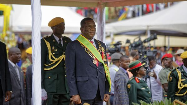 Emmerson Mnangagwa inspects the military parade after being sworn in as President at the presidential inauguration ceremony in the capital Harare, Zimbabwe Friday, Nov. 24, 2017 - Sputnik International