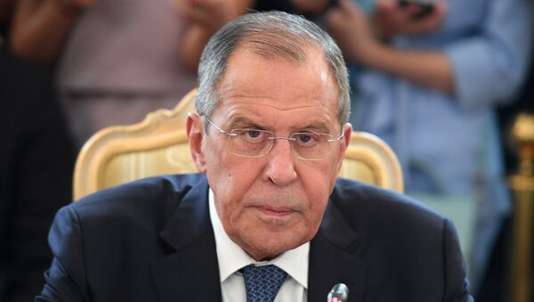 Russian Foreign Minister Sergei Lavrov during talks with Japanese сcounterpart Taro Kono and Japanese Defense Minister Itunori Onodara in the 2 + 2 format. - Sputnik International