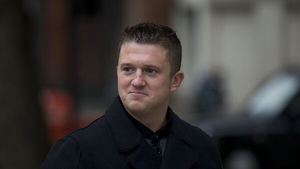 In this Wednesday, Oct. 16, 2013 file photo, Tommy Robinson the former leader of EDL English Defence League group arrives for an appearance at Westminster Magistrates Court in London - Sputnik International
