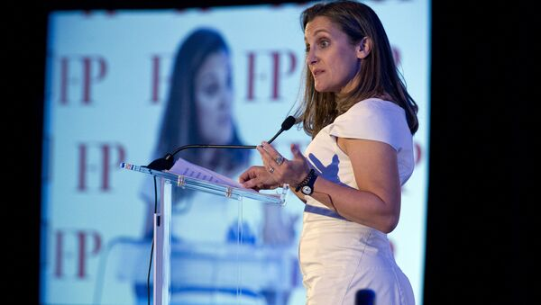Canadian Minister of Foreign Affairs Chrystia Freeland speaks after receiving the Foreign Policy's Diplomat of the Year 2018 award on Wednesday, June 13, 2018, in Washington - Sputnik International