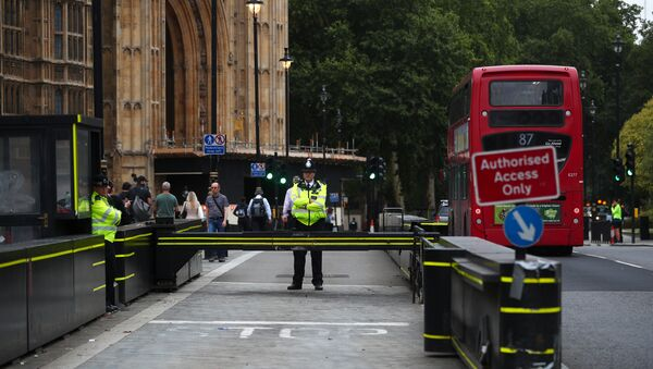 Police officers stand at the vehicle barrier to the Houses of Parliament where a car crashed after knocking down cyclists and pedestrians yesterday in Westminster, London, Britain, August 15, 2018 - Sputnik International