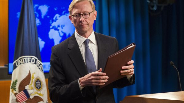 Brian Hook, special representative for Iran, leaves the podium after speaking about the creation of the Iran Action Group at the State Department, in Washington, Thursday, Aug. 16, 2018 - Sputnik International