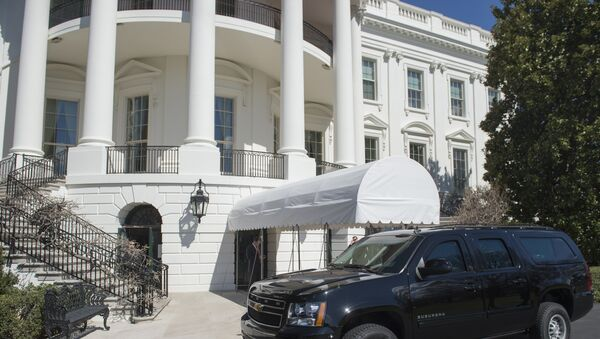 A SUV is parked outside of the South Portico on the South Lawn of the White House in Washington, DC, March 11, 2017. - Sputnik International