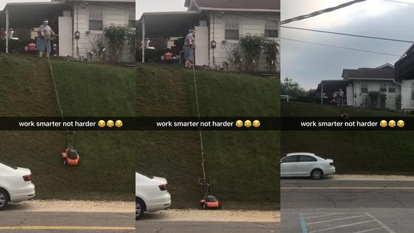 Working Smarter? US Man's Interesting Lawn Care Hack - Sputnik International