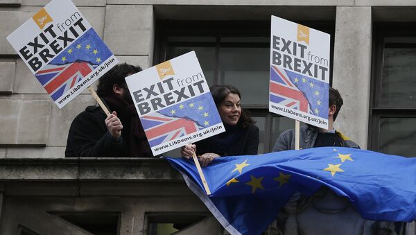 People demonstrate against Brexit on a balcony in London, Wednesday, Feb. 14, 2018, as Britain's Foreign Secretary Boris Johnson delivers a speech focusing on Britain leaving the EU. The Foreign Office says Johnson will use a speech Wednesday to argue for an outward-facing, liberal and global Britain after the U.K. leaves the bloc - Sputnik International