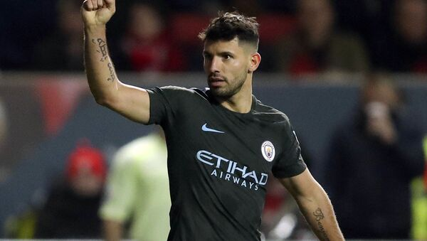 Manchester City's Sergio Aguero celebrates scoring his side's second goal of the game during the English League Cup semi final, second leg match against Bristol City at Ashton Gate, Bristol, England, Tuesday, Jan. 23, 2018 - Sputnik International