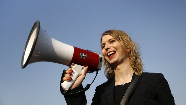 In this 18 April, 2018 photo, Chelsea Manning addresses participants at an anti-fracking rally in Baltimore - Sputnik International