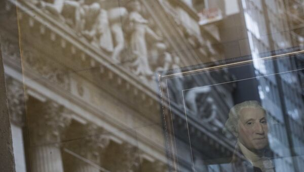 A portrait of former President George Washington is seen behind the reflection on the New York Stock Exchange - Sputnik International