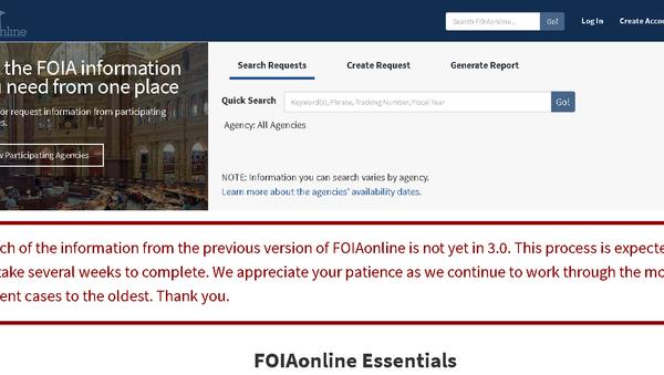 Screenshot of foiaonline.gov website. - Sputnik International