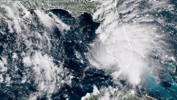 Tropical Storm Gordon is pictured nearing Florida, U.S. in this September 3, 2018 NASA satellite handout photo. - Sputnik International