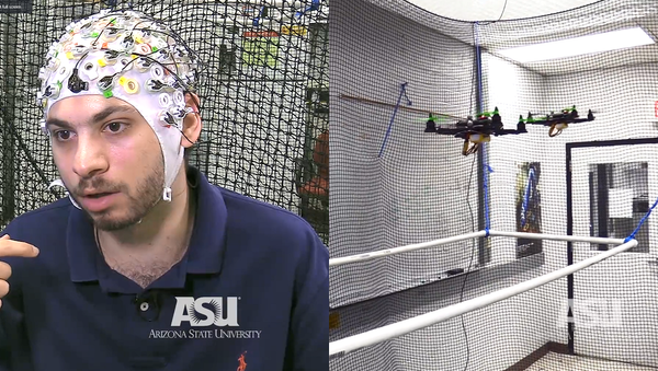Researchers in the Human-Oriented Robotics and Control Lab at the University of Arizona demonstrate a single user flying three drones using a brain-computer interface - Sputnik International