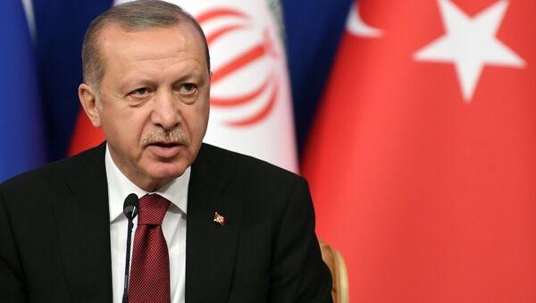 The president of Turkey Recep Tayyip Erdogan during the trilateral meeting between Turkey, Russia and Iran - Sputnik International
