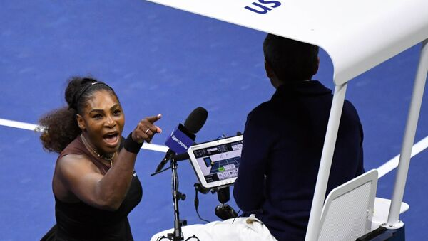 Sep 8, 2018; New York, NY, USA; Serena Williams of the United States yells at chair umpire Carlos Ramos in the women's final against Naomi Osaka of Japan on day thirteen of the 2018 U.S. Open tennis tournament at USTA Billie Jean King National Tennis Center. - Sputnik International