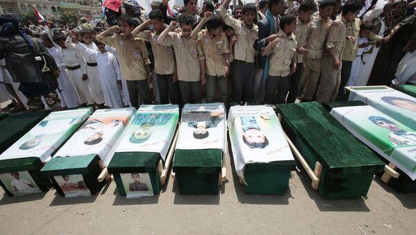 In this Aug. 13, 2018, file photo, Yemeni people attend the funeral of victims of a Saudi-led airstrike, in Saada, Yemen - Sputnik International