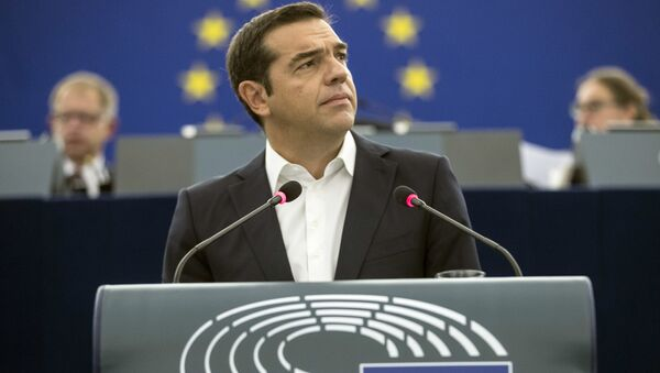 Greek Prime minister Alexis Tsipras debates the future of Europe with parliament members and commissioners at the European Parliament in Strasbourg, eastern France, Tuesday Sept.11, 2018. - Sputnik International