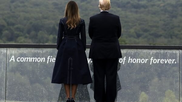President Donald Trump and first lady Melania Trump, stand along the September 11th Flight 93 Memorial, Tuesday, Sept. 11, 2018, in Shanksville, Pa. - Sputnik International