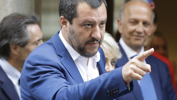 Italian Interior Minister and right-wing League leader Matteo Salvini, gestures as he arrives for a lunch at an hotel in Milan, Italy, Monday, July 2, 2018. The leader of the right-wing party in Italy's populist government told tens of thousands of supporters Sunday he wants to turn next year's European Parliament election into a referendum on immigration and job security - Sputnik International