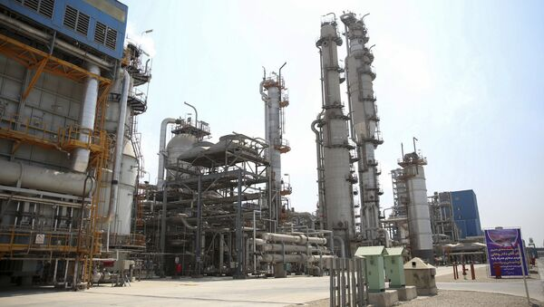 Pardis petrochemical complex facilities in Assalouyeh on the northern coast of the Persian Gulf, Iran, Tuesday, Sept. 4, 2018. Iranian President Hassan Rouhani said Tuesday his country will continue exporting crude oil despite U.S. efforts to stop it through sanctions - Sputnik International