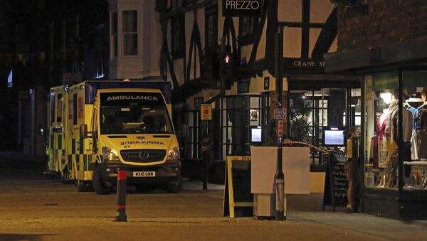 Ambulances are parked outside the Prezzo restaurant in Salisbury, Britain, where police closed roads as a precautionary measure after two people were taken ill from the restaurant, Sunday Sept. 16, 2018.  - Sputnik International