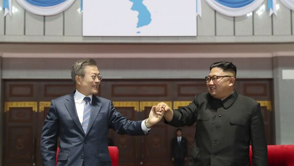 South Korean President Moon Jae-in, left, and North Korean leader Kim Jong Un hold their hands after watching the mass games performance of The Glorious Country at May Day Stadium in Pyongyang, North Korea, Wednesday, Sept. 19, 2018. Unification flag symbol at top centre. - Sputnik International