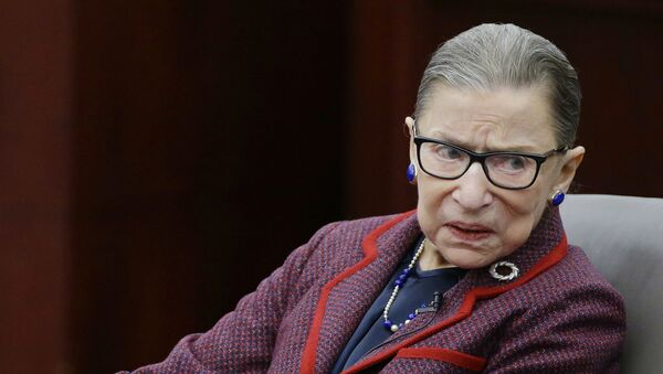 Supreme Court Justice Ruth Bader Ginsburg participates in a fireside chat in the Bruce M. Selya Appellate Courtroom at the Roger William University Law School Tuesday, Jan. 30, 2018, in Bristol, R.I.  - Sputnik International