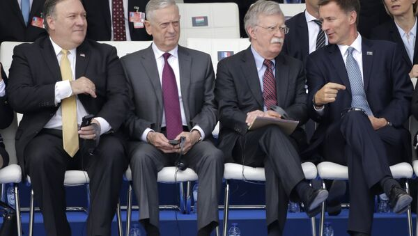 U.S. Secretary of State Mike Pompeo, U.S. Secretary for Defense Jim Mattis, security adviser John Bolton and British Foreign Secretary Jeremy Hunt, from left, during a summit of heads of state and government at NATO headquarters in Brussels Wednesday, July 11, 2018. - Sputnik International