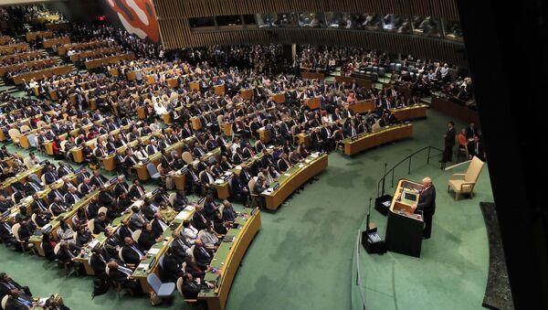 U.S. President Donald Trump addresses the 73rd session of the United Nations General Assembly at U.N. headquarters in New York, U.S., September 25, 2018 - Sputnik International