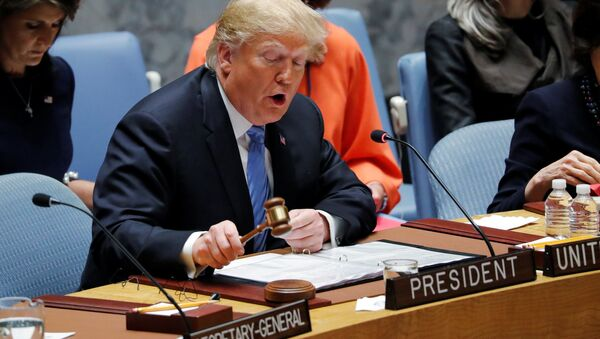 U.S. President Donald Trump, representing the United States as current President of the United Nations Security Council, bangs the gavel to open the U.N. Security Council meeting at the 73rd session of the United Nations General Assembly at U.N. headquarters in New York, U.S., September 26, 2018 - Sputnik International